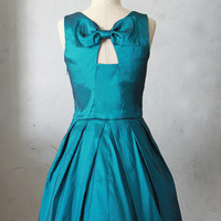 JUBILEE TEAL - Shimmery taffeta party dress with black tulle // back bow cutout // bridesmaid // vintage inspired / pleated skirt // pockets