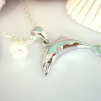 Sterling silver dolphin pearl necklace