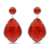 Sterling Silver Red Agate and 3/8ct TDW White Diamond Earrings (J-K, I2-I3)