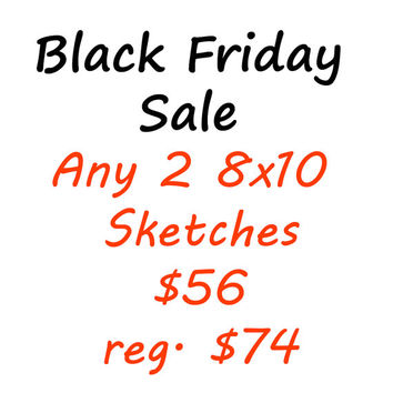 Sketches Black Friday, Cyber Monday Sale Art - Any Two 8x10 Sketches, Wall Art, Home Decor, Fine Art, Travel Photography