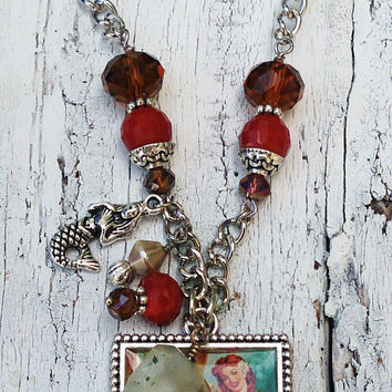 Vintage Mermaid Art Pendant Assemblage Necklace Nautical Beach Jewelry Dreaming Of The Sea