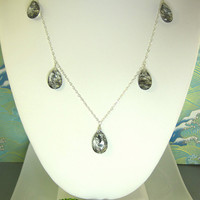 Black rutilated quartz sterling silver necklace