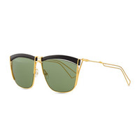 Christian Dior Metal Wire Rectangle Sunglasses, Black/Gold