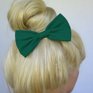Hunter Green Hair Bow Clip Adult Women fashion accessory handmade bows bowtie alligator clips bows for hair Green bow for girls accessories