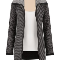striped zip front cardigan with faux leather trim