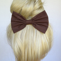 Brown hair bow clip brown hair clip brown bow clip brown clip big hair bow mediums hair bows cute hair bows women's bow teens girls cosplay