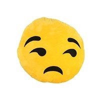 Generic Giggle Emoticon Soft Emoji Cushion Pillow Stuffed Plush Toy Yellow Round