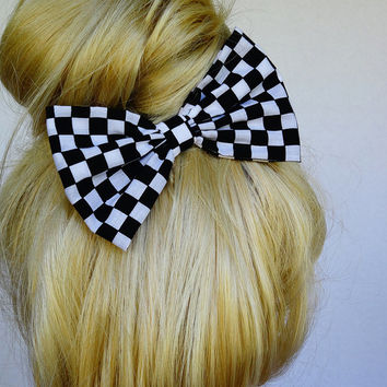 Checkers Hair Bow Checkers bow Black White Bow Black Bow for women Black Bow White Bow Checkers Clip Fabric Bow Clip Party Hair Bow girly