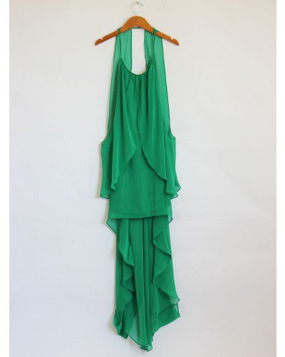 Green Flowy Halter Fishtail Dress