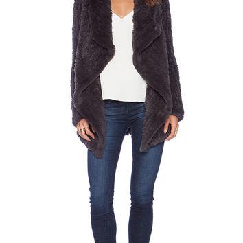 June Sheared Rabbit Fur Full Coat in Gray