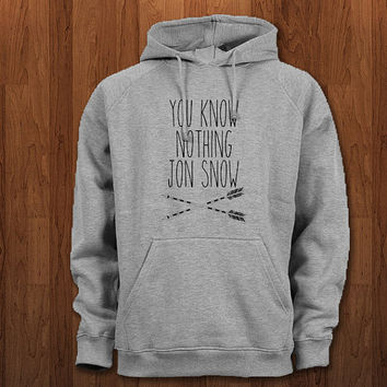 You Know Nothing Jon Snow Hoodie for size s-3xl, for color black, white, gray, and red
