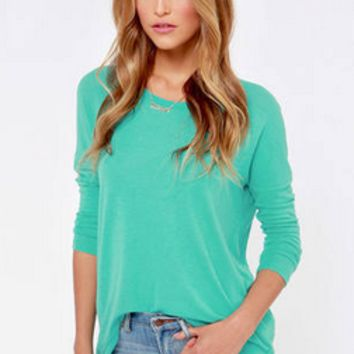 Bikini Luxe Mint Long Sleeve Blouse - Small