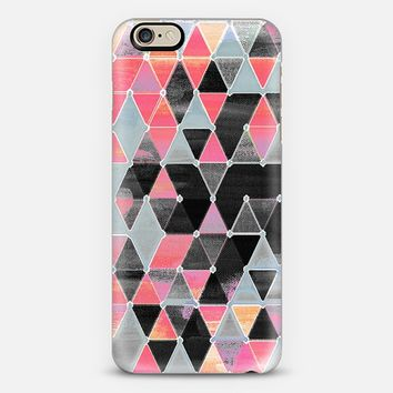 Winter Sunset - triangles in black & pink iPhone 6 case by Micklyn Le Feuvre | Casetify
