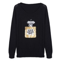 LookbookStore Fashion Sequins Perfume Cotton Blend Loose Fit Women's Sweater