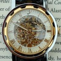 Gold and Ivory Wind-Up Wrist Watch