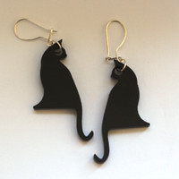 Black Cat Earrings.Plexiglass Jewelry,Lasercut Acrylic,Gifts Under 25
