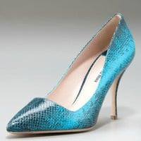 Miu Miu Snake-Stamped Pointed-Toe Pump