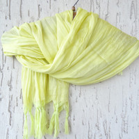 Handwoven infinity scarf,  Neon Yellow Scarves, Natural,Organic Scarf, Fashion accessories, Women Scarves