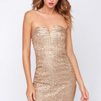 Bariano Ava Strapless Gold Sequin Dress
