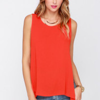 Dee Elle Higher Power Red Orange High-Low Top