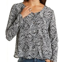 Paisley Print Chiffon Button-Up Top by Charlotte Russe - Black Combo