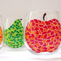 You Pick 2 Fruit Mosaic Wine Glasses by SwirlyGarden on Etsy