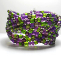 Braided Bracelet Vineyard Grape and Green Braided Cuff Bracelet Beaded Cuff