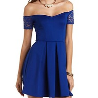 Pleated Skater Dress with Lace Sleeves by Charlotte Russe - Navy
