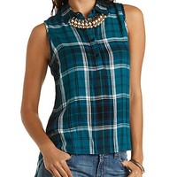 Sleeveless Button-Up Plaid Top by Charlotte Russe - Teal Combo