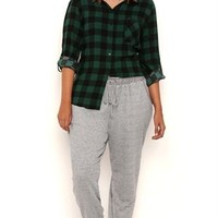 Plus Size Marled Knit Jogger Pants with Faux Leather Trim