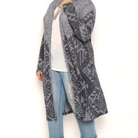 Plus Size Long Sleeve Marled Knit Aztec Print Duster Sweater with Hood