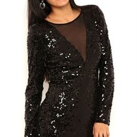 Long Sleeve Short Sequin Dress with Illusion Plunge Neckline