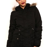 Teddy Fur Lined Anorak Jacket with Snap Pockets and Fur Trimmed Hood