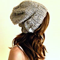 Woman&#x27;s knit slouchy hat - Grey Gray Marble unisex