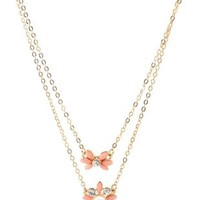 Dainty Flower Layered Necklace by Charlotte Russe - Gold