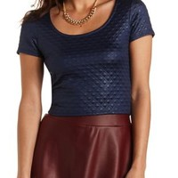 Quilted Shimmer Crop Top by Charlotte Russe - Navy Blue
