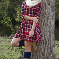 RESTOCK: Fall On Fire Dress: Red/Plaid