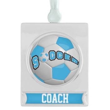 Baby Blue and White Personalize Soccer Ball