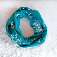 Frozen Scarf, Kids Infinity Scarf, Elsa Inspired Scarf, Snowflake Infinity Scarf, Snow Flake Christmas Holiday Scarf