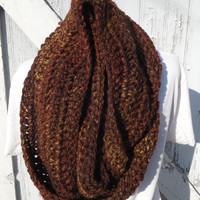 READY TO SHIP, Crochet Loop Scarf, Brown Infinity Scarf, Large Chunky Scarf, Fall Winter, Women's Accessory, Cowl