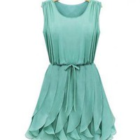 Drawstring Waist Ruffles Chiffon Dress