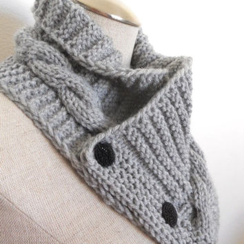 Knit Cowl in silver grey, neckwarmer, scarf with buttons. Women Accessory Winter Fashion