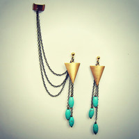 ear cuff earrings, arrow head earrings, turquoise earrings, ear cuff with chains, chains ear cuff