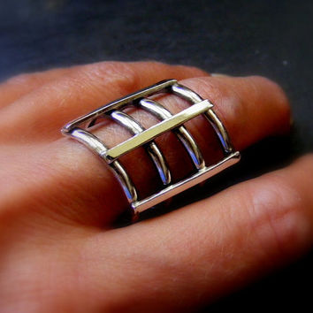 Silver Statement Geometric Cage Ring Shiny Abstract Thumb Silver ring