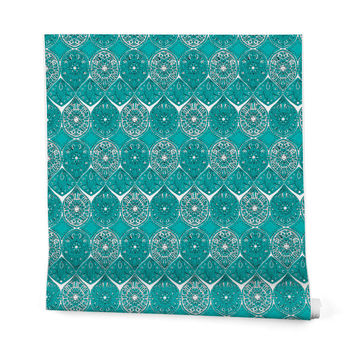 Sharon Turner Saffreya Turquoise Wrapping Paper - 2' x 10' Roll
