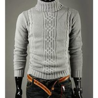 Variety Match Mens High Neck Light Gray Knitting Sweater S/M/L @6401LH