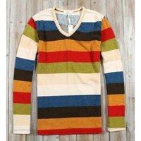 Men Stripe V-neck Long Sleeve Casual Knitting Shirt L/XL@Z001