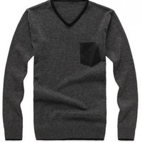 V-neck Long Sleeve Dark Grey Cotton Blend Men Casual Knitting Sweater M/L/XL@YSPM1213grey