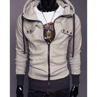 Zipper Button Light Grey Men Jacket With Cap M/L/XL/XXL@X1004NH6S0W02lg