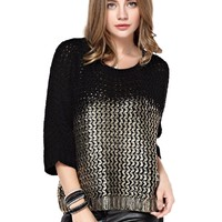 TopStyliShop Women's Patchwork Round Neck Golden Sweater with 2/3 Sleeve D1126